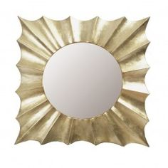 Espejo de fibras naturales dorado 100x5x100 cm.