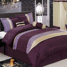 Amazon.com - Sonata535 Purple King size Luxury 7 piece Comforter set includes Comforter, Skirt, Throw Pillows, Pillow, Shams by Royal Hotel -