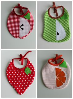 Sewing Ideas For Babies Baby fruit bibs I also think they'd be pretty easy to modify into pet Halloween costumes - Baby Sewing Projects, Sewing For Kids, Sewing Crafts, Baby Patterns, Sewing Patterns, Sewing Ideas, Baby Fruit, Pet Halloween Costumes, Baby Accessoires