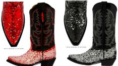 BLING COWGIRL BOOTS Red or Black Flip Sequin Embroidered Black Genuine Leather Cowgirl Boots SIZES 5-11 Cowgirl Style Outfits, Rodeo Outfits, Autumn Fashion Women Fall Outfits, Winter Fashion, Cowgirl Boots, Riding Boots, Boot Bling, Different Shades Of Pink, Western Wear