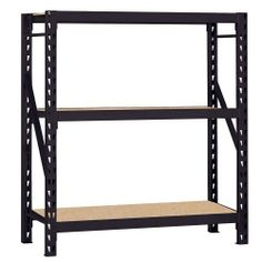 """Edsal ERZ601866PB3 Muscle Rack Heavy Duty Steel Bulk Storage Rack with 3 Shelf, 1200 lbs Shelf Capacity, 60"""" Width x 66"""" Height x 18"""" Depth, Black (035441318025) 3 Particleboard shelves adjust in 3-inches increments Heavy duty welded frames and beams A black textured finish on these industrial shelves conceals dirt and grime, making them a great choice for the garage, shed or warehouse Dual locking system in posts Measures 60-inches width by 66-inches height by 18-inches depth"""