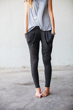 harem pants with casual grey top casual look but chic