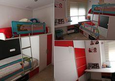 Habitación juvenil con una litera tren de dos camas, cuatro cajones y armario de dos puertas. Armario de puertas correderas y mesa escritorio. Es la habitación de los peques de la casa, buscando la comodidad y que sea práctica, la habitación ideal.