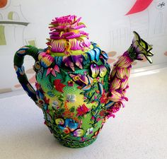 Floral teapot by Yehudit Yitzaki in polymer clay.