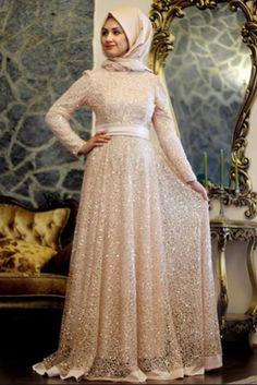 Minel Aşk Pudra Beyza Abiye Elbise