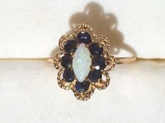 Vintage Opal Ring with blue Spinel accent by ScotchStreetVintage