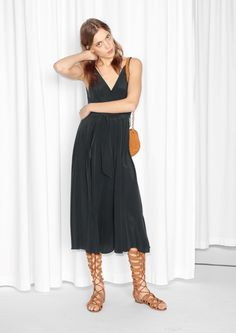 Other Stories image 2 of Sleeveless Silk Dress in Black