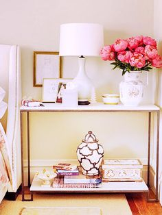 5 Alternatives to Your Average Nightstand//console, peonies, white lamp, nightstand styling