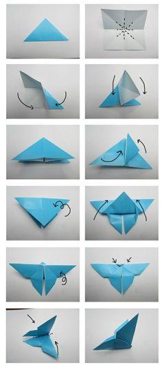 Origami Falten-Bastelanleitung Schmetterling: