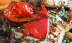 Grilled Pork Chops with Vinegar Peppers