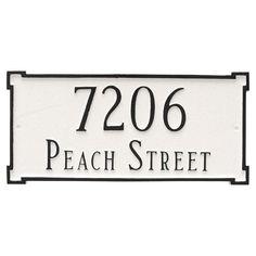 Montague Metal New Yorker Standard Two Line Address Sign Wall Plaque - PCS-0027S2-W-SIB