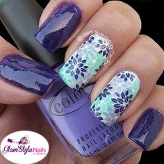 Nail Art Designs In Every Color And Style – Your Beautiful Nails Gorgeous Nails, Beautiful Nail Art, Stamping Nail Art, Manicure E Pedicure, Flower Nails, Cute Nail Designs, Creative Nails, Blue Nails, Mint Nails