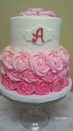 Rosette baby shower cake, ombre pink