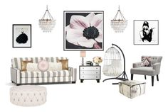"""""""Untitled #48"""" by maggiegarrett ❤ liked on Polyvore featuring interior, interiors, interior design, home, home decor, interior decorating, Pottery Barn, By Lassen, Graham & Brown and Oliver Gal Artist Co."""