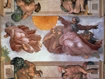 Sistine Chapel Ceiling: Creation of the Sun and Moon - Miguel Ángel