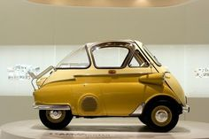 "sailor-boy-rocky: "" A Real Poppet……….mmmmm "" BMW Isetta in yellow. This may be the cutest mini car ever. Bmw Isetta, Peugeot, Scooters Vespa, 3 Bmw, Bmw E9, Automobile, Microcar, Bmw Classic Cars, Cars Motorcycles"