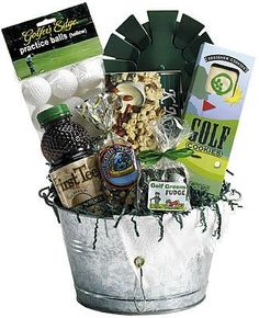 Par Tee Golf Gift Basket    If he enjoys getting out to the golf course whenever he can, then this is the DIY gift basket to choose. Its a hole in one! #AceGolfEquipment
