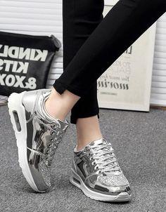 gümüş parlak simli gizli topuk spor ayakkabı sk21388