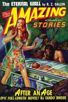 A pulp magazine cover from November 1942 about futuristic people from the past waking in a future world that regressed back to the stone age.