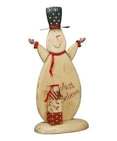 Love this Large 'Just Believe' Snowman Figurine on #zulily! #zulilyfinds