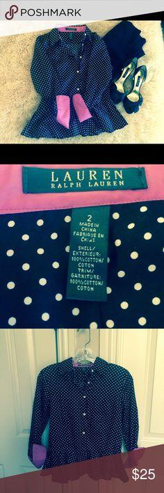 Ralph Lauren peplum B&W w/ pink cuffs Adorable small polka dotted peplum shirt. 3/4 sleeves.   Size 2. Too small never worn Ralph Lauren Tops Button Down Shirts