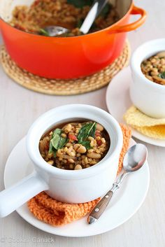 This is dinner tonight!  Barley Stew with Caramelized Onions, White Beans & Spinach | Cookin' Canuck #MeatlessMonday #vegetarian