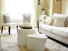 These are pretty cool! Painted Stump Coffee Tables. Chic, fun and mighty close to free. I like that! via http://www.thriftyandchic.com/2011/06/wood-stump-coffee-table.html