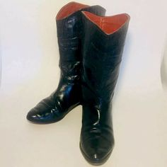 498de0db3ff69 Details about Italian Leather Rockabilly Croc Boots Womens Black US 8 EUR  38.5 Western Cowboy