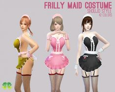 Frilly Maid Costume for The Sims 4 by Cosplay Simmer (Anime style apron with attached frilly maid hat and net stockings) 42 recolor options included. Model Outfits, Hot Outfits, Sims 4 Cheats, Los Sims 4 Mods, Sims 4 Anime, Disney Princess Outfits, Best Sims, Sims Four, The Sims 4 Download