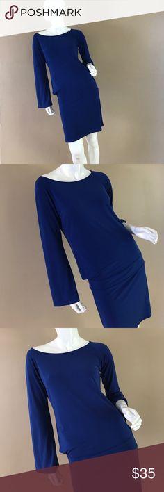 Blue Long sleeve Dress Blue long sleeve dress with a dropped waist Moda International Dresses Long Sleeve