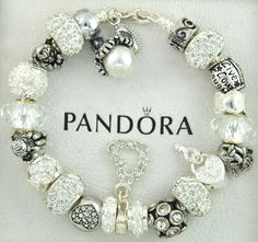 Authentic pandora silver charm bracelet with charms white angel crystal cross #Pandoralobsterclaspclaw #European