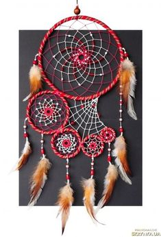 Dreamcatcher Red Ruby Dream Catcher Wall Hanging Native American Tribal Large Big Leather Maroon Sangria Burgundy Unique gift Authentic D E S C R I P T Grand Dream Catcher, Dream Catcher Decor, Beautiful Dream Catchers, Large Dream Catcher, Los Dreamcatchers, Dream Catcher Patterns, Diy And Crafts, Arts And Crafts, Crochet Dreamcatcher