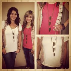 "You know a necklace is in style when both of our stylists show up to work wearing the same trend! The necklace, ""Everything Falls into Place,"" is a part of September's Fashion Fix and is a definite staff favorite. Lead Stylist, Kasidee, pairs her necklace with urban and brass bracelets, while Stylist, BreAnna, kept true to the Sunset Sightings Trend Blend and paired it with the bracelet, ""Royally Seeded."" You can get the complete Trend Blend from www.paparazziaccessories.com/vegasbling now!"