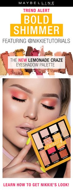 Nikkietutorials shares the latest makeup trend: bold shimmery eyes. Nikkie creates a pink eyeshadow look using Maybelline's Lemonade Craze Eyeshadow Palette. Click through to learn how she got this look. Makeup Geek, Male Makeup, Drugstore Makeup, Pink Eyeshadow Look, Eyeshadow Palette, Eyeshadow Ideas, Bh Cosmetics, Laura Mercier, Hair Tips For Men