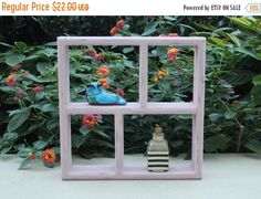 Adorable wood knick knack display hand-painted in custom mixed Annie Sloan pink chalk paint and distressed for a cottage chic look. Fill