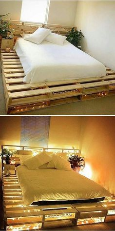 Wooden Pallet Furniture Pallet bed ideas - Pallet coffee table is immensely getting popularity day by day. Wood pallet projects provide the most stunning and innovative pallet coffee table that amaze the coffee lovers. Pallet Bed Frames, Diy Pallet Bed, Wooden Pallet Furniture, Diy Furniture, Bed Pallets, Garden Furniture, Barbie Furniture, Furniture Design, Bed Made Out Of Pallets