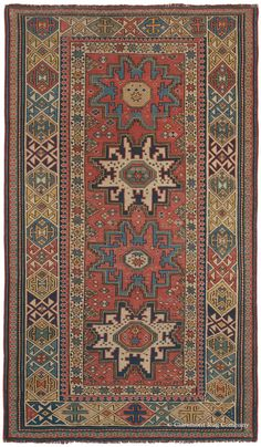 Caucasian Lesghi, 3ft 6in x 6ft 0in, Circa 1850.  This glorious piece is a dream for lovers of 19th century Caucasian rugs! It is a stunningly beautiful Lesghi antique rug that boasts a simple, lyrical design, sumptuous glowing colors and abundant artistic flourishes, all traits not seen in the later Lesghi carpets that are more commonly found.