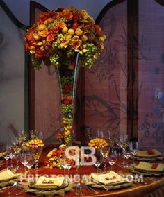 Preston Bailey Event Ideas, Preston Bailey, Autumn Centerpiece, Autumn Floral Centerpiece, Floral Centerpiece, Red Orange and Yellow Centerp...