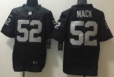 Men's Oakland Raiders #52 Khalil Mack Black Team Color 2015 NFL Nike Elite…