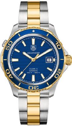 Tag Heuer Aquaracer Blue Dial Yellow Gold Plated and Steel Mens Watch WAK2120.BB0835 - List price: $3,500.00 Price: $2,350.00 Saving: $1,150.00 (33%)