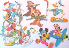 Fun cartoon craft embellishments - great for children's crafts! Vintage Disney paper embellishments by PinkFlamingoEphemera, £3.50