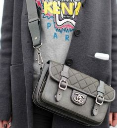 Silver grey cross-body #chanel bag