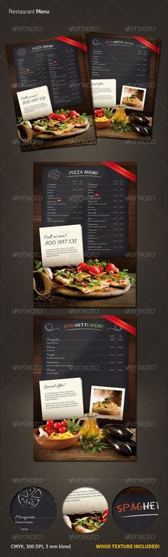 Elegant restaurant (pizza, spaghetti) layouts ¨C pizza or spaghetti menu wood texture included print ready CMYK, 300 dpi 3 mm bleed free fonts used: Eraser, Allura, Signika Photos and font are NOT included (links provided in the help file) Web Design, Food Design, Flyer Design, Restaurant Flyer, Restaurant Menu Design, Menu Layout, Flyer Layout, Food Menu Template, Flyer Template