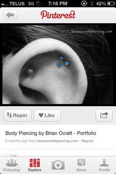love the 3 cartilage piercings