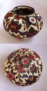 """Wounaan Baskets - """"Floral""""   with bottom detail   by Raquela Mejia"""