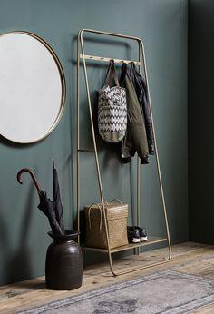 Coat Rail Rack in Brass / Gold Hallway Coat Rack, Hallway Storage, Shoe Storage Entrance Hall, Coat Rail, Home Furniture, Furniture Design, Wooden Furniture, Lounge Design, Interior Decorating