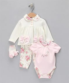 Vitamins Baby 3-Piece Creeper Pant Set Antique Rose | Vitamins Baby Clothes | New Baby Clothes | Girls Baby Clothes | Infant Clothes | Baby Clothing | New Born Baby Clothing | Designer Baby Clothes | Cute Baby Clothing.