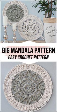 Crochet BIG MANDALA Pattern - easy crochet mandala pattern for beginners Crochet Wall Art, Crochet Wall Hangings, Diy Crochet, Crochet Crafts, Crochet Rugs, Motif Mandala Crochet, Crochet Doilies, Crochet Dreamcatcher Pattern Free, Crochet Tablecloth Pattern