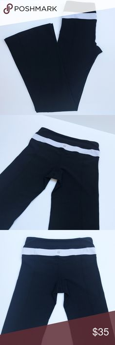 "Lululemon Black Leggings with White Waistband Lululemon Black Cropped Leggings with White Waistband. Size 4. Waist measures approximately 13"". Inseam measures approximately 36"". Great condition!! There is one snagged thread as shown in the last picture. lululemon athletica Pants Leggings"