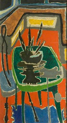 Green Table on Red Floor: 1954 Patrick Heron Abstract Expressionism, Abstract Art, Abstract Paintings, Aberdeen Art Gallery, Patrick Heron, Red Floor, Green Table, Art Uk, Love Painting